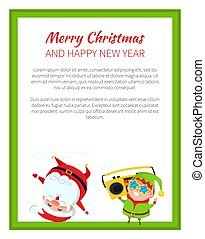 Merry Christmas Funny Poster Vector Illustration