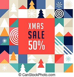 Merry Christmas, geometric abstract background, poster, scandinavian style pattern