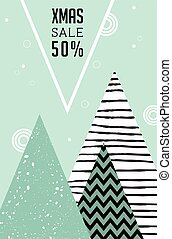 Merry Christmas, geometric abstract background. sale poster in Scandinavian style