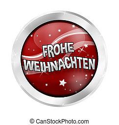 Merry Christmas German Language round button icon