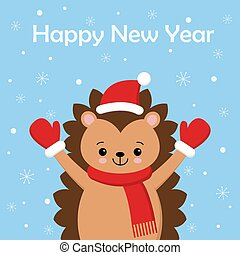 Merry Christmas gift card with cute hedgehog wearing with red scarf and Santa hat. Vector illustration.