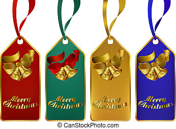 Merry Christmas gift tags - Christmas gift tags in four rich...