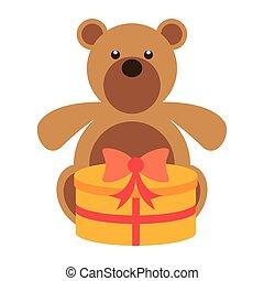 merry christmas gift with bear teddy