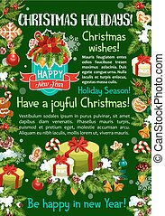 Merry Christmas gifts vector greeting card