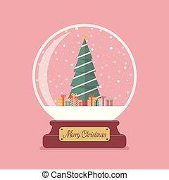 Merry christmas glass ball with Christmas tree and gifts