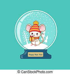 Merry christmas glass ball with cute little mouse