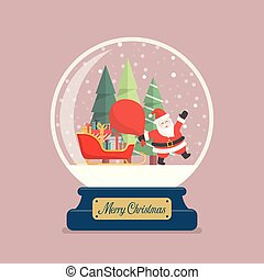 Merry christmas glass ball with Santa holding huge bag and sleigh containing a full of presents