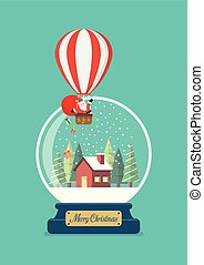 Merry christmas glass ball with Santa in balloon and winter house
