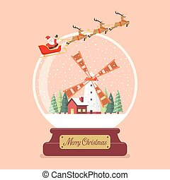 Merry christmas glass ball with Santa sleigh and winter rural scene