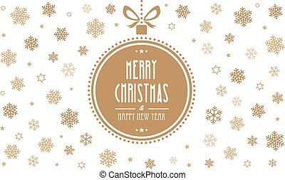 merry christmas gold ball snowflakes white background