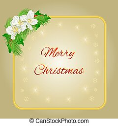 Merry Christmas gold frame with jasmine flowers and pine vector