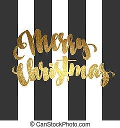 Merry Christmas gold glittering lettering design - Merry...