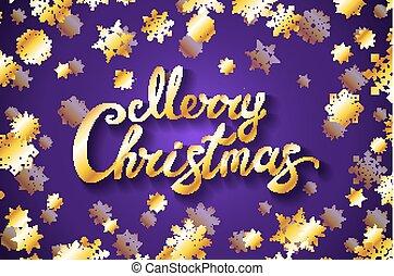 Merry Christmas gold glittering lettering design. violet background with golden snowflake Vector illustration EPS 10