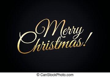 Merry Christmas Gold Lettering Illustration on Black Background