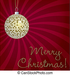Gold mirror ball Merry Christmas card in vector format.
