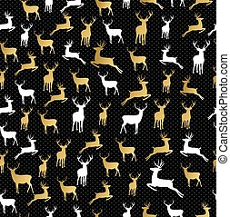 Merry christmas gold reindeer seamless pattern