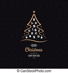 merry christmas gold tree ornament black background