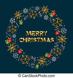 Merry Christmas greeting card design with luxury gold xmas winter decoration and holiday text message. EPS10 vector.