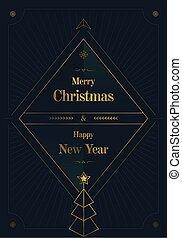 merry christmas golden art deco