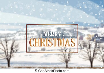 Merry Christmas golden card on winter landscape background Vector