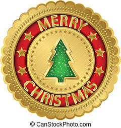 Merry christmas golden label