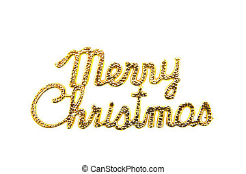 Golden merry christmas text isolated over white