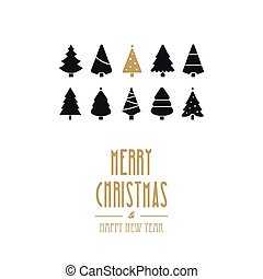 merry christmas golden type and trees