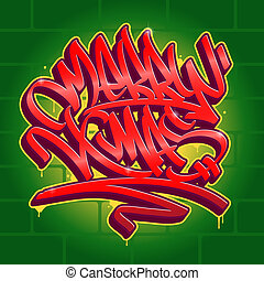 Christmas Graffiti Background.Merry Christmas Graffiti Twinkling Graffiti Letters Spell