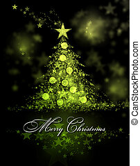 Merry Christmas. Green and yellow background with a christmas tree and Merry Christmas Text