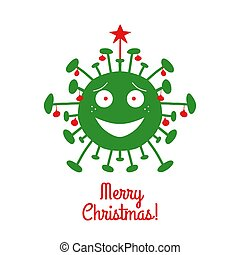 Merry Christmas. Green cartoon coronavirus bacteria with red christmas tree balls and star on the top. Isolated on a white background. Vector stock illustration.