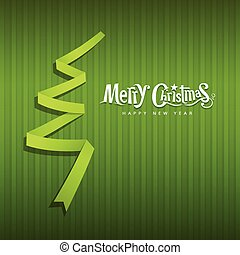 Merry Christmas green ribbons