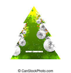 merry christmas green tree ball colorful whit background