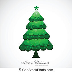 merry christmas green tree colorful whit background