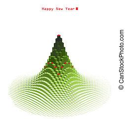 Merry Christmas green tree design