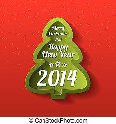 Merry Christmas green tree greeting card. 2014.