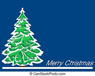 Merry Christmas green tree on blue background