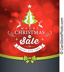 Merry Christmas green tree sale white lettering