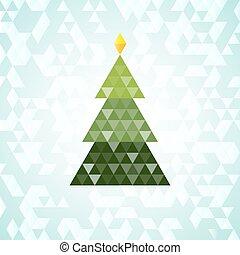 Merry Christmas green tree, triangular pattern