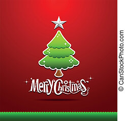 Merry Christmas green tree - Merry Christmas lettering green...