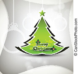 Merry Christmas green tree whit background card vector
