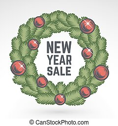 Merry Christmas green wreath vector design. Vintage happy New Year postcard. X-mas banner for party, sale, print. December poster or badge