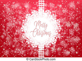 Merry Christmas greetig card with ribbon and text -