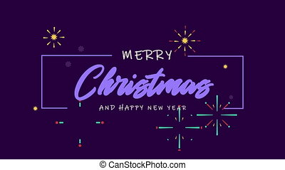 Merry Christmas greeting animation with firework background...