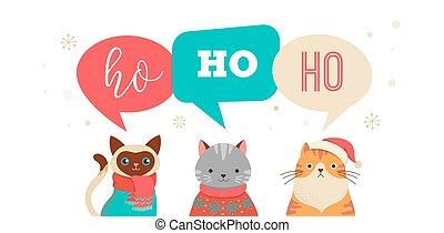 Merry Christmas greeting, banner with cute cats characters, vector collection