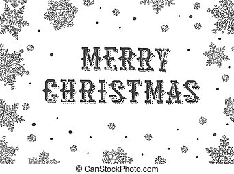 Merry Christmas Greeting. Black and white