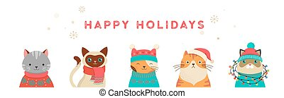 Merry Christmas greeting card and banner with cute cats characters, vector collection
