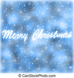 Merry Christmas greeting card, blue abstract background with handwriting greeting words, beautiful festive wallpaper