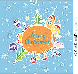 Merry christmas greeting card funny cartoon