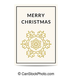 Merry Christmas greeting card golden snowflake