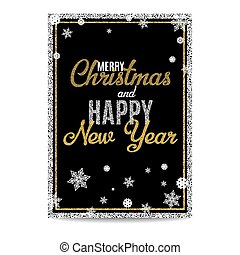 Merry Christmas greeting card golden text and snowflakes